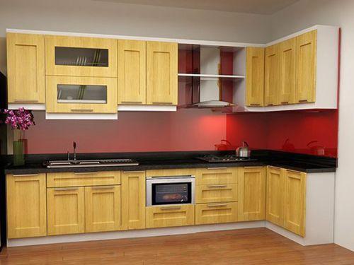 Kính ốp tường bếp màu đỏ